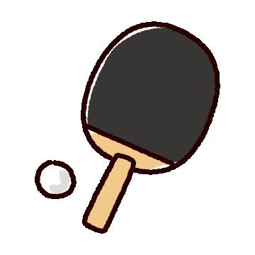 卓球のラケットのイラスト(ペンホルダー・ピン球)