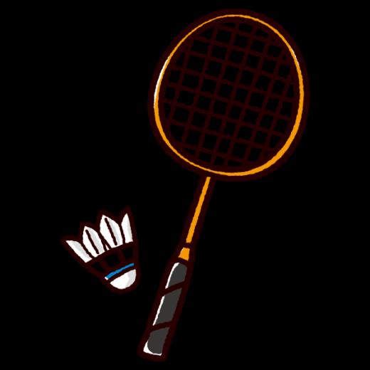 バドミントンのラケットのイラスト(シャトル)