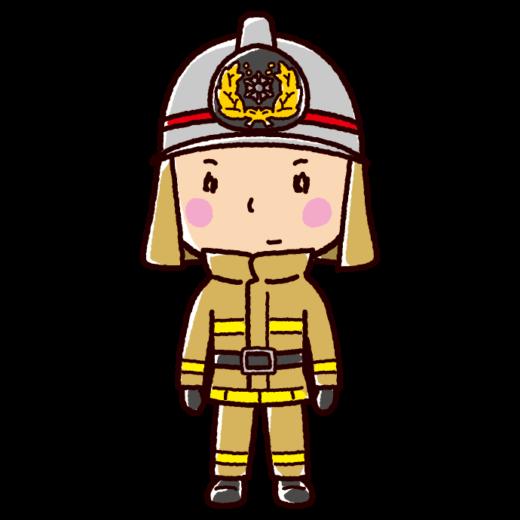 消防士のイラスト(防火服)(2カット)