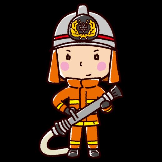消防ホースを持つ消防士のイラスト(防火服)(2カット)