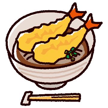 天ぷらそばのかわいいイラスト