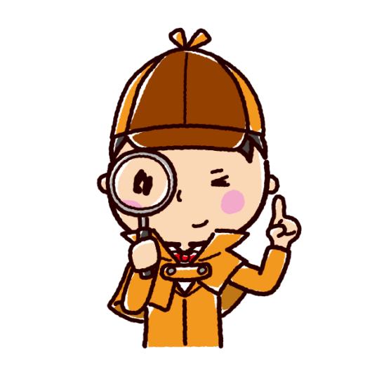 虫眼鏡を覗く探偵のイラスト