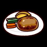 ハンバーグのイラスト(お皿)