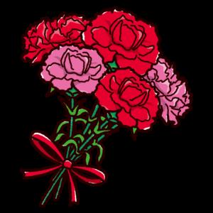 カーネーションのイラスト(花束・母の日)