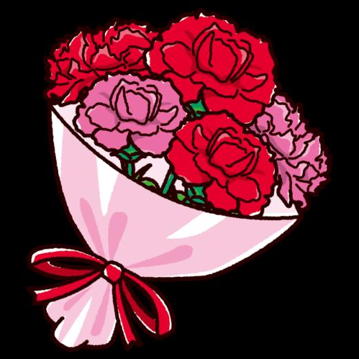 母の日のイラスト(カーネーションの花束)(2カット)