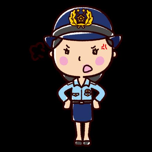 怒るイラスト(警察官・女性)