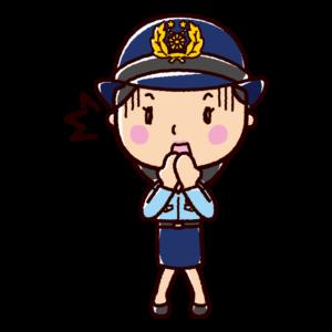 驚くイラスト(警察官・女性)
