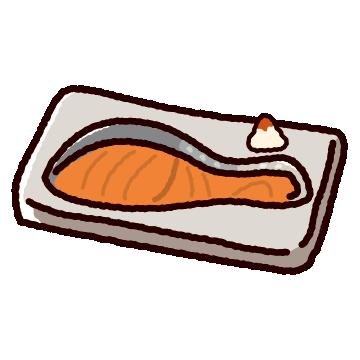 焼き鮭のかわいいイラスト