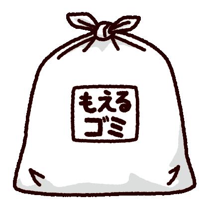 ゴミ袋のイラスト(白)(3カット)