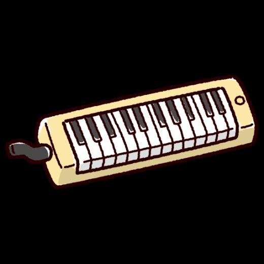 鍵盤ハーモニカのイラスト(立奏・ピアニカ)(3カラー)