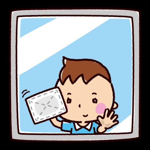 掃除のイラスト(窓拭き・子供)(2カット)