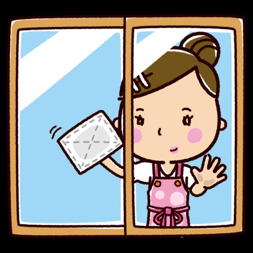 掃除のイラスト(窓拭き・女性)