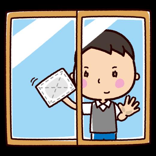 掃除のイラスト(窓拭き・男性)