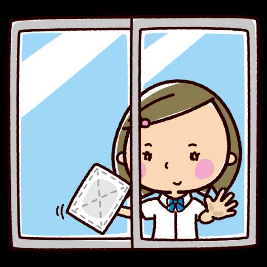 掃除のイラスト(窓拭き・女子学生)