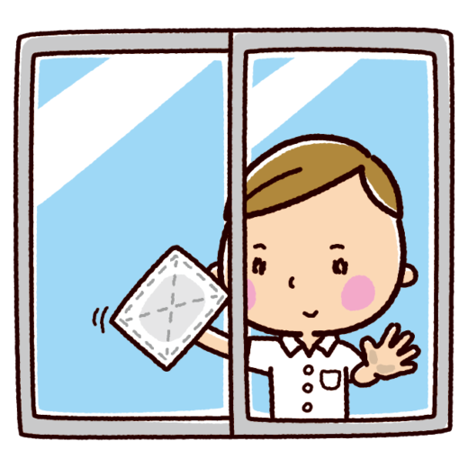 掃除のイラスト(窓拭き・男子学生)