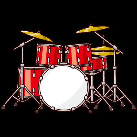 ドラムセットのイラスト(2カラー)