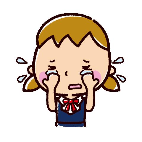 泣くイラスト(女子学生)(2カット)