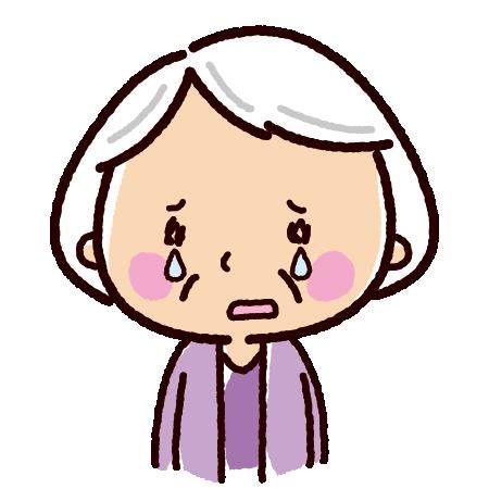 泣くイラスト(おばあさん)(2カット)