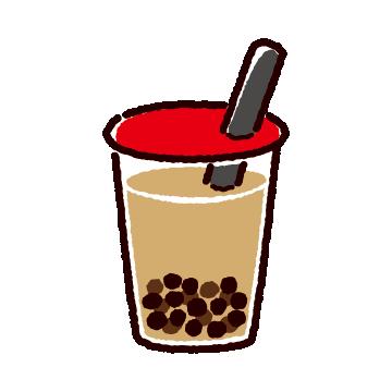 タピオカミルクティーのイラスト(2カット)(2カラー)