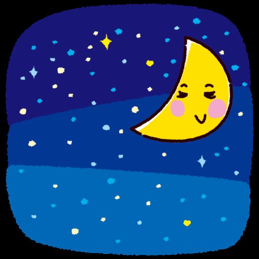 天気のイラスト(月・夜空)(2カット)