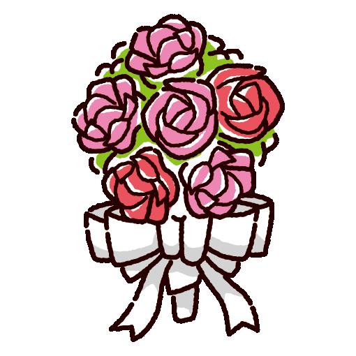 かわいいブーケのイラスト(花束)(3カラー)