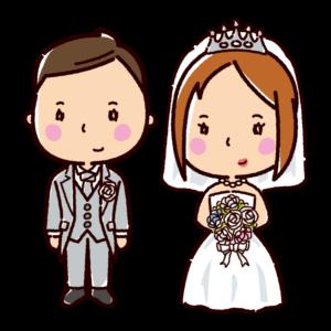 結婚式のイラスト(新郎新婦・ウエディングドレス)