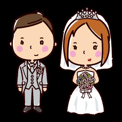 結婚式のイラスト(新郎新婦・ウエディングドレス)(3カット)