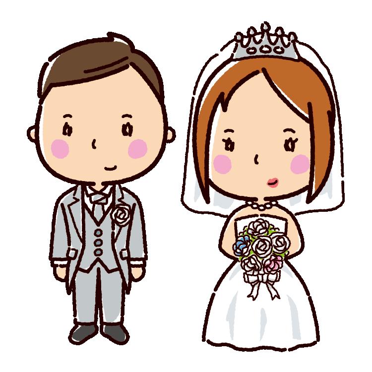 結婚式のイラスト新郎新婦ウエディングドレス3カット