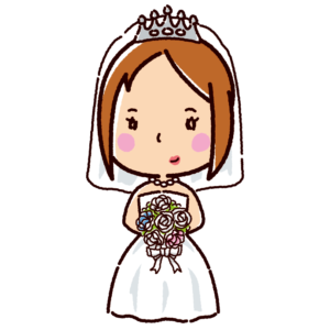 結婚式のイラスト(新婦・ウエディングドレス)