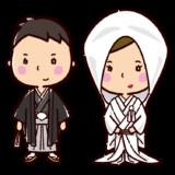 結婚式のイラスト(新郎新婦・和装)