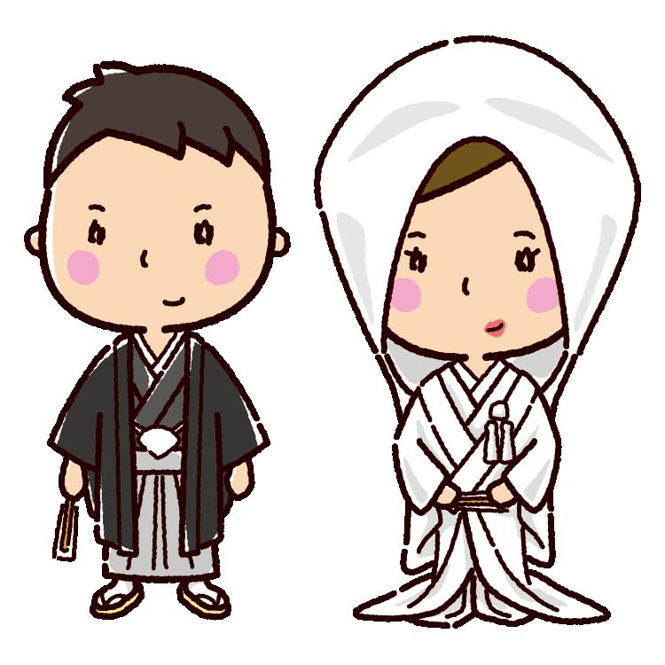 結婚式のイラスト(新郎新婦・和装)(3カット)