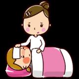看病するイラスト(女性・ママ)
