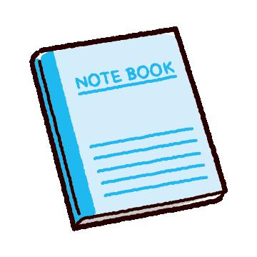 ノートのイラスト(2カット)(5カラー)