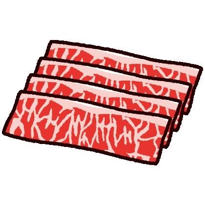 牛肉のイラスト(薄切り)(2カット)