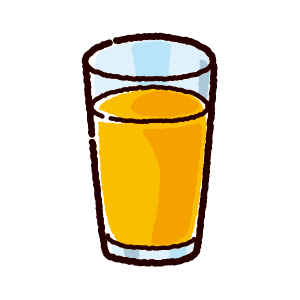 ジュースのイラスト(オレンジ)(4カット)
