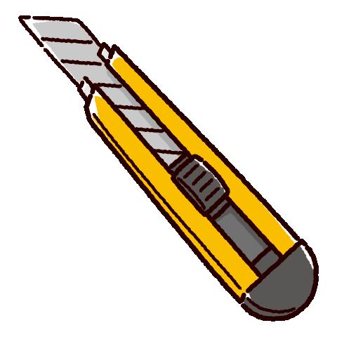 カッターナイフのイラスト(2カット)(2カラー)