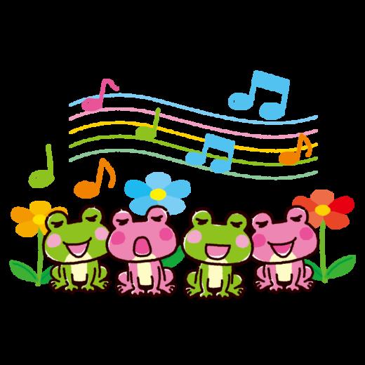 カエルの合唱のイラスト(4カット)(2カラー)