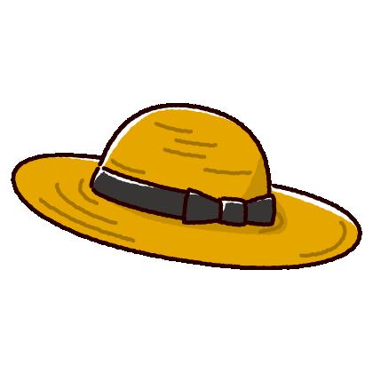 麦わら帽子のイラスト(2カット・2カラー)