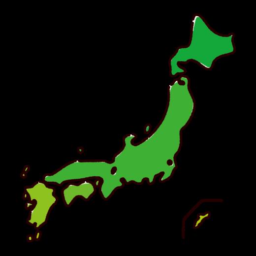 かわいい日本地図のイラスト(フチ塗り)(2カット)