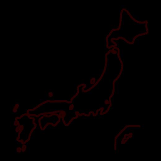 かわいい日本地図のイラスト(線)(2カット)