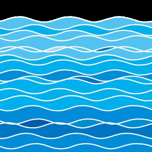 さざ波のイラスト(海面・エンドレス)(2カット・2カラー)
