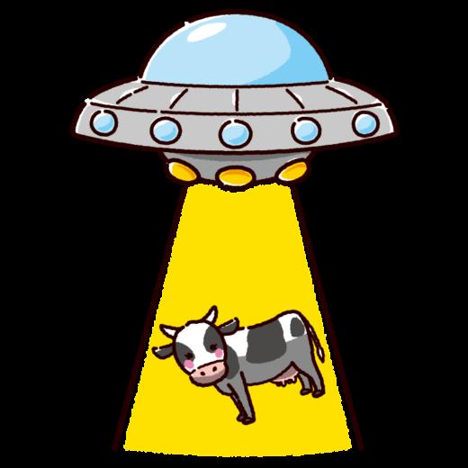 UFOにさらわれる牛のイラスト(2カット)