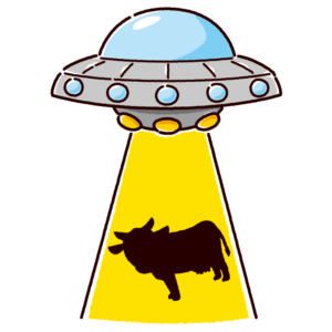 UFOにさらわれるウシのイラスト