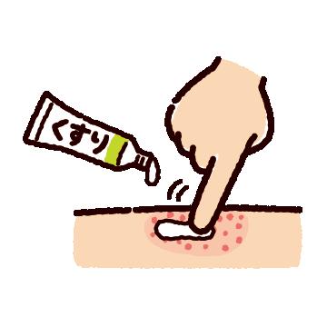 薬を塗るイラスト(2カット)
