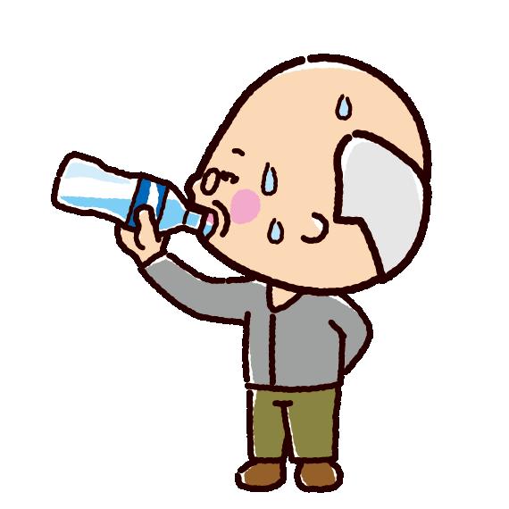 水分補給のイラスト(おじいさん)   イラストくん