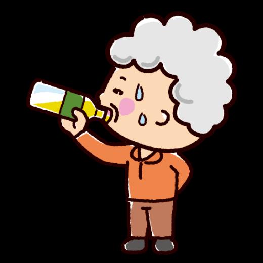 水分補給のイラスト(おばあさん)