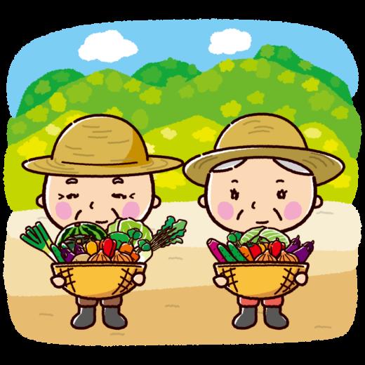 農家のイラスト(収穫・おじさん・おばさん)(3カット)