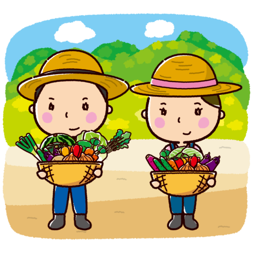 農家のイラスト(収穫・男性・女性)(3カット)