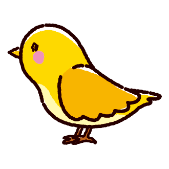 黄色い鳥のイラスト(3カット)