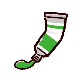 絵の具のイラスト(出す・絞る・緑)